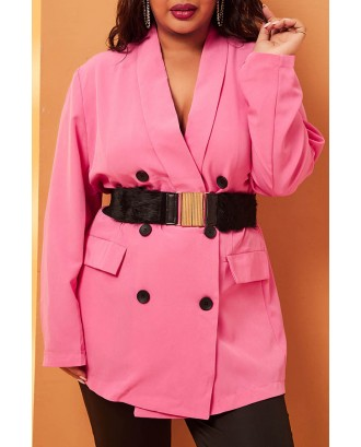 Lovely Casual Buttons Design Rose Red Plus Size Blazer