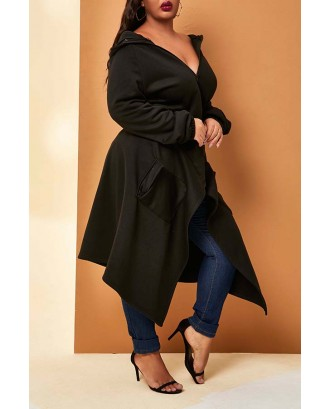 Lovely Casual Hooded Collar Black Plus Size Coat