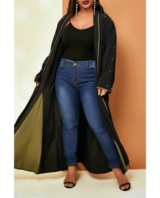 Lovely Casual Nail Bead Design Black Plus Size Coat