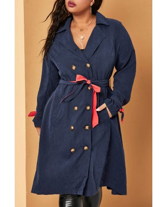 Lovely Casual Buttons Design Deep Blue Plus Size Trench Coat