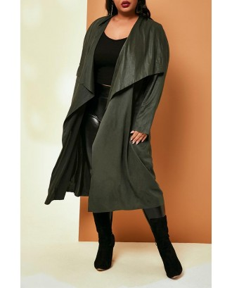 Lovely Casual Lace-up Loose Army Green Plus Size Coat