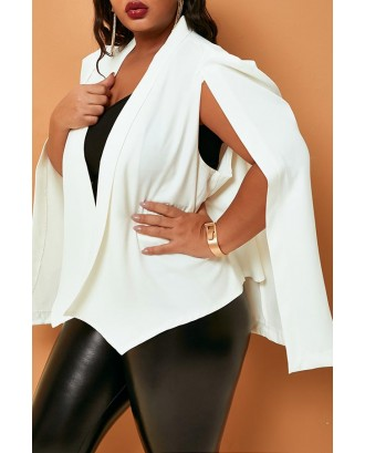 Lovely Casual Cloak Design White Plus Size Blazer