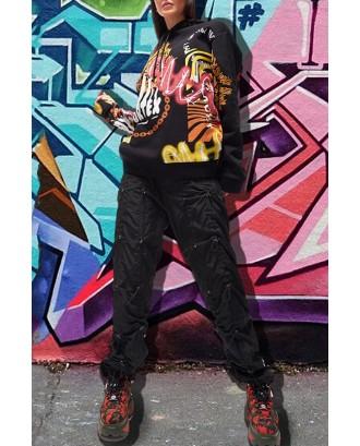 Lovely Casual Hooded Collar Printed Black Hoodie