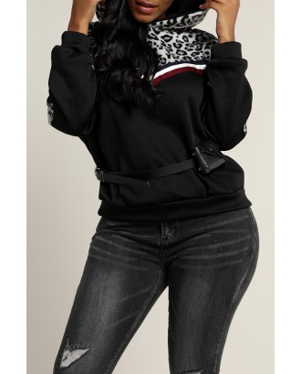 Lovely Casual Hooded Collar Patchwork Black Hoodie