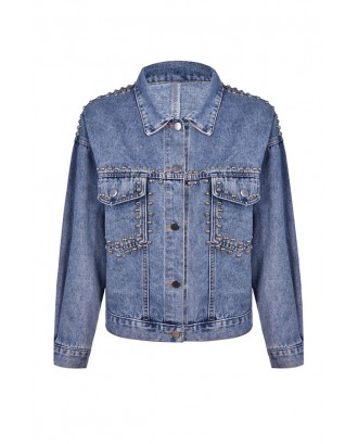 Lovely Casual Basic Buttons Blue Coat