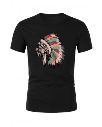 Lovely Bohemian Figure Black T-shirt