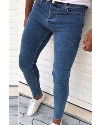 Lovely Casual Basic Skinny Blue Jeans
