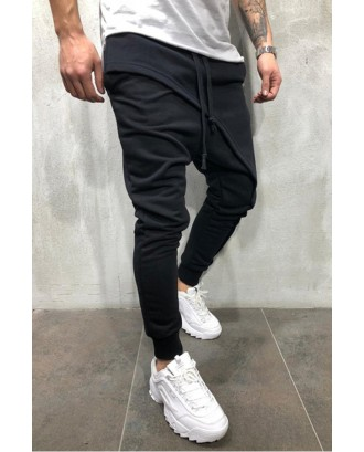 Lovely Casual Drawstring Patchwork Black Pants