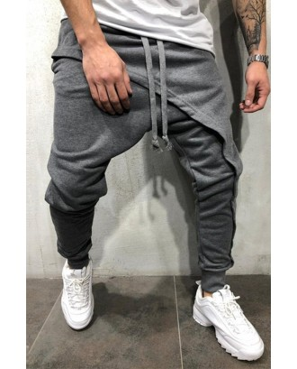 Lovely Casual Drawstring Patchwork Grey Pants