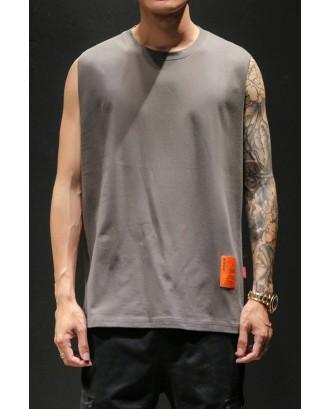 Lovely Casual O Neck Sleeveless Dark Grey Vest