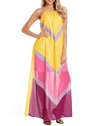 Color Block Sleeveless Chiffon Maxi Dress - Yellow S