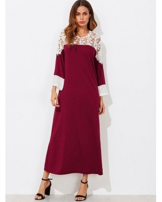 Contrast Lace Insert Maxi Dress - Red Wine S