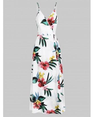 Cami Floral Print Split Maxi Dress - White L