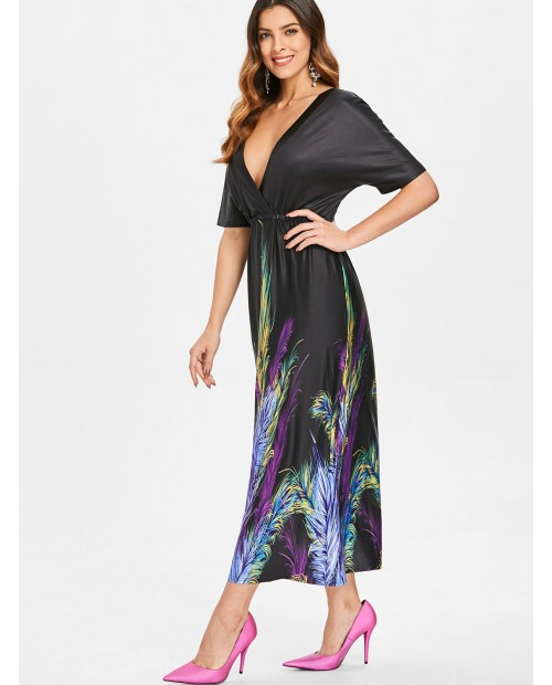 Feather Print Plunge Neck Dress - Black S