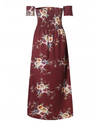 Smocked Off Shoulder Long Flower Print Dress - Chestnut Red S