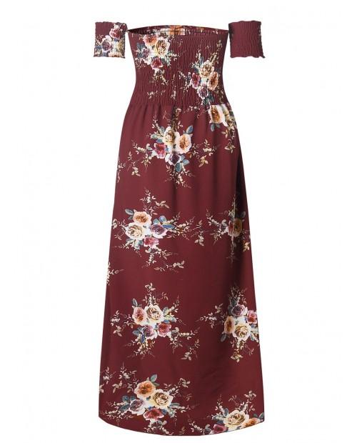 Smocked Off Shoulder Long Flower Print Dress - Chestnut Red S