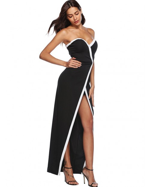 Contrast Piping Strapless Maxi Dress - Black Xl