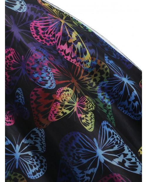 Butterfly Print High Waist A Line Dress - Black Xl
