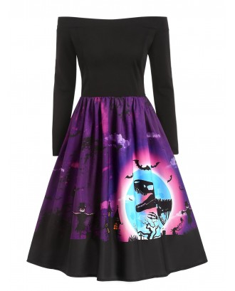 Dinosaur Bat Print Off Shoulder Halloween Dress - Dark Orchid S