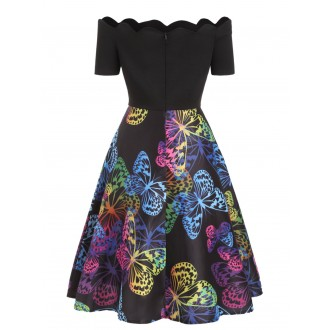Scalloped Butterfly Print Flare Dress -  M
