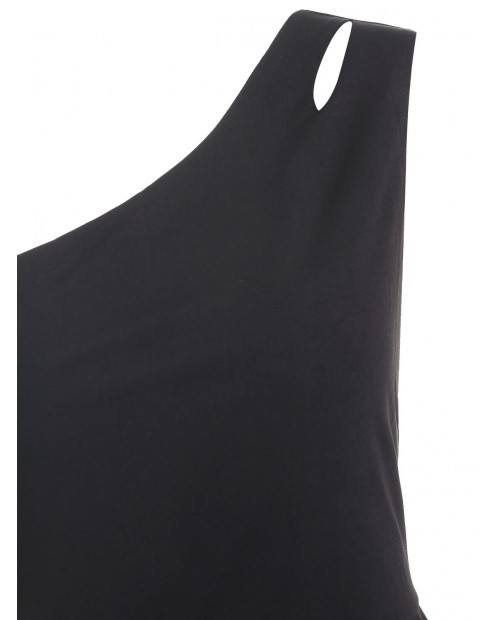 Cut Out One Shoulder Flare Dress - Black L