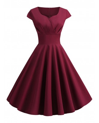 Sweetheart Neck Surplice A Line Dress - Red Wine M