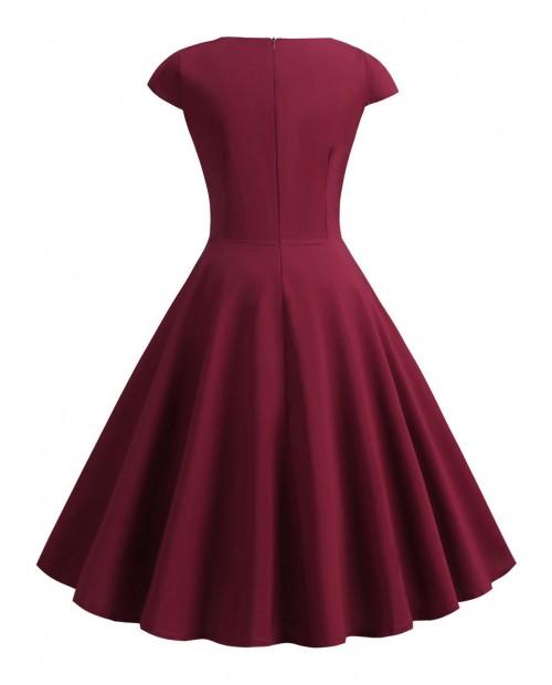 Sweetheart Neck Surplice A Line Dress - Red Wine M