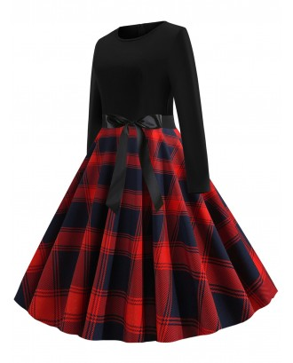Plaid Belted Vintage Flare Dress - Red M