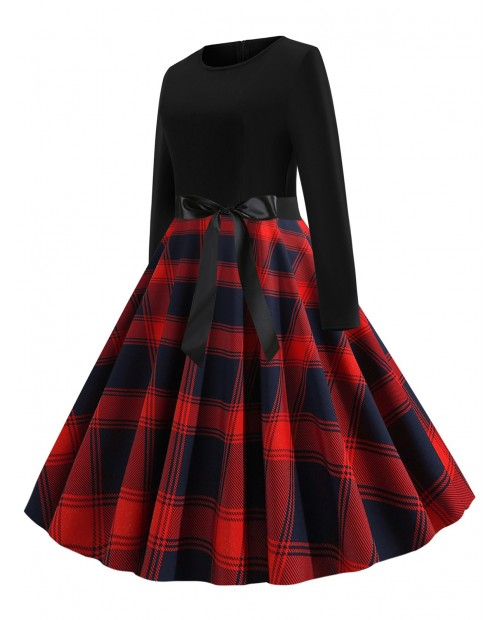 Plaid Belted Vintage Flare Dress - Red M