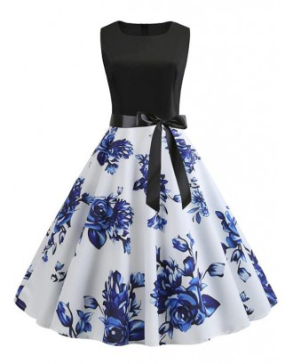 Flower Print Belted Knee Length Vintage Dress - Blue L