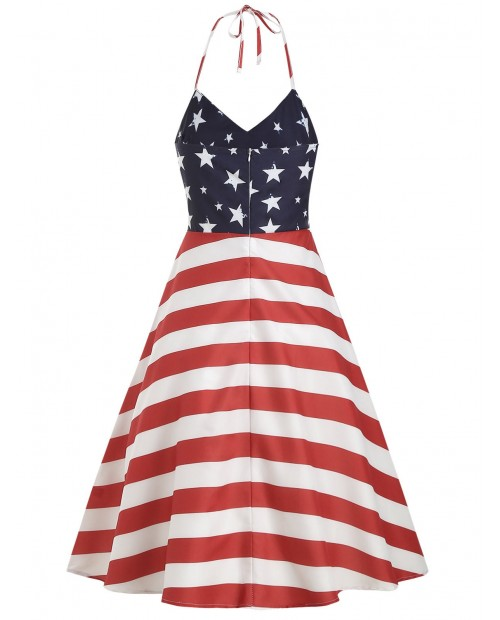 High Waist American Flag Print Halter Dress -  S