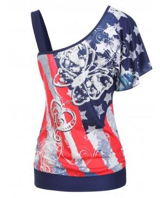 American Flag Butterfly Print Skew Neck T-shirt -  S