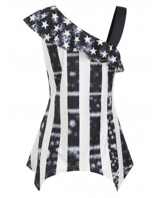 Asymmetrical American Flag Flounce T-shirt - Black 2xl