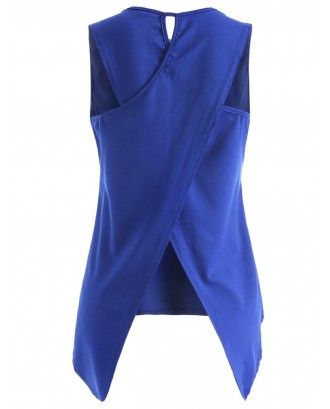 Asymmetric Overlap Sleeveless Top - Cobalt Blue S