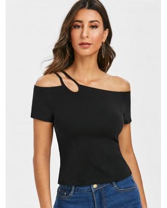 Asymmetrical One Shoulder T Shirt - Black 2xl