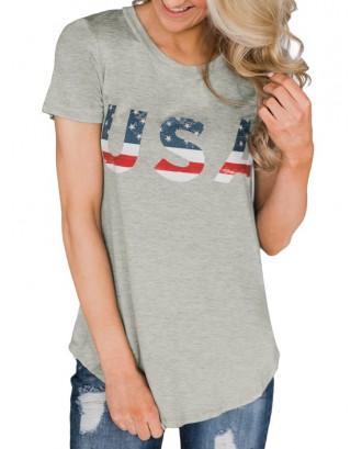 American Flag Short Sleeve Tunic Tee - Platinum M