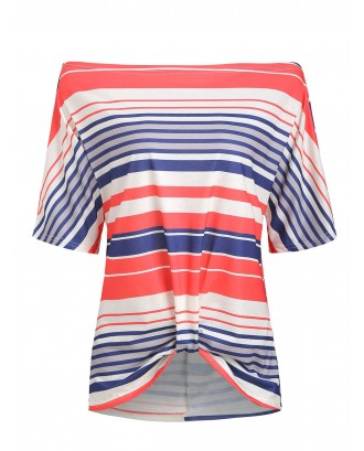 Batwing Sleeve Striped Twisted T-shirt - Multi-a L
