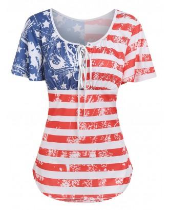 American Flag Printed Round Collar T Shirt - Multi-c M