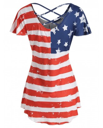 American Flag Butterfly Sleeve T-shirt -  S