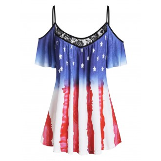 American Flag Lace Panel Open Shoulder Tee - Blue M
