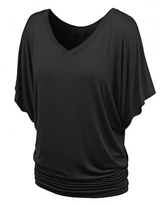 Batwing Sleeve V Neck Ruched T-shirt - Black M