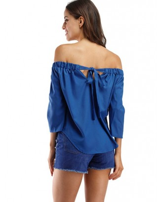 Bowknot Off The Shoulder Solid Top - Blue S
