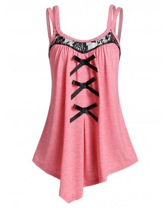 Asymmetrical Bowknot Tank Top - Pink M