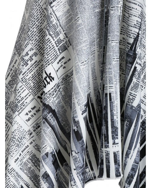 Asymmetric Newspaper Print Tunic Tank Top - White M