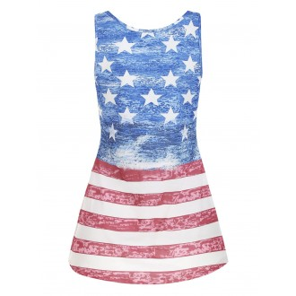 American Flag High Low Casual Tank Top - Blue L