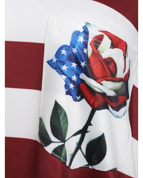 American Flag Print Tunic U Neck Tank Top - Red Wine M