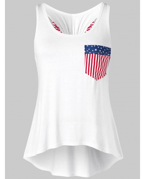 American Print Bowknot Tank Top - White M