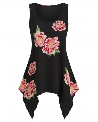 Asymmetrical Flower Printed Casual Tank Top - Black 2xl
