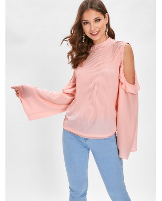 Cold Shoulder Flounce Pleated Blouse - Light Pink M
