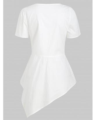 Asymmetric V Neck Shirt - White 2xl